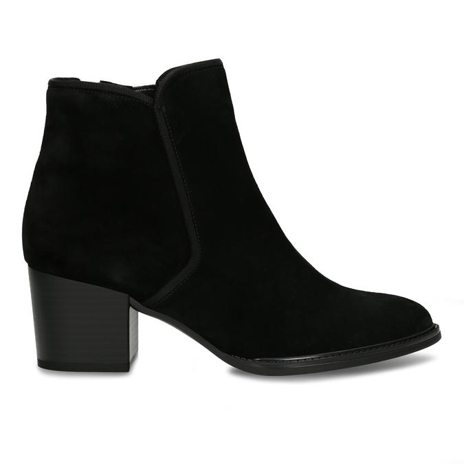 Černá kožená kotníková dámská bota s textilním lemem gabor, černá, 696-6101 - 19