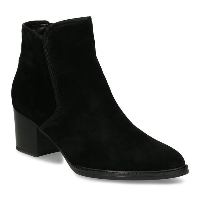 Černá kožená kotníková dámská bota s textilním lemem gabor, černá, 696-6101 - 13