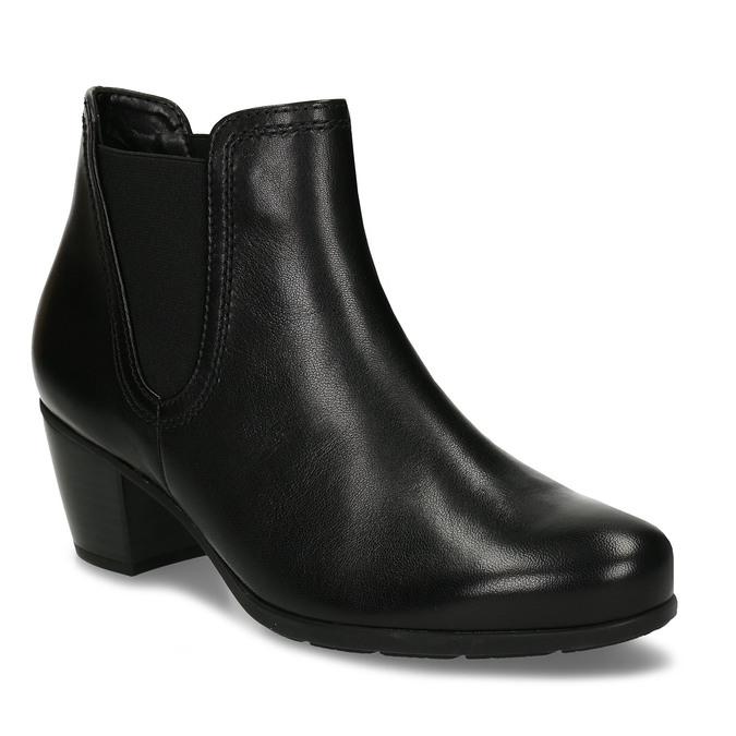 Černá dámská kožená kotníková obuv na podpatku gabor, černá, 696-6114 - 13