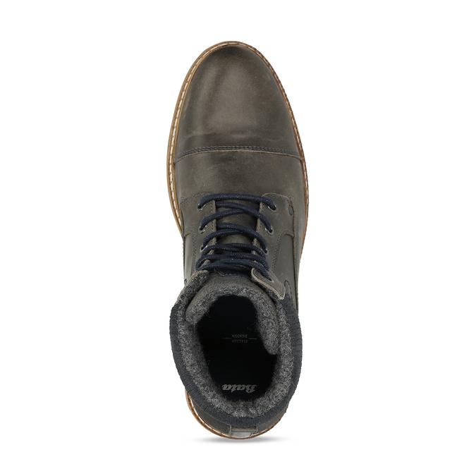 Pánská zimní obuv v šedé kůži bata, šedá, 896-2727 - 17