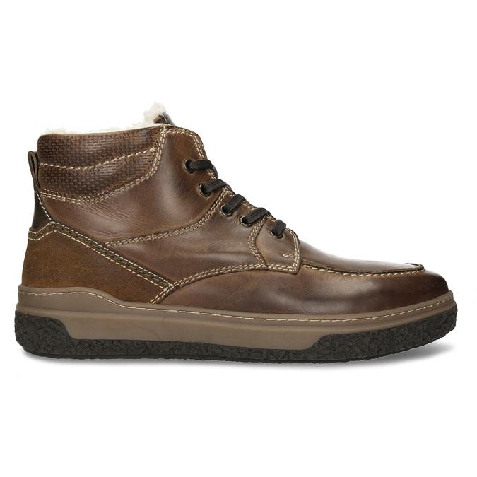 Hnědá pánská kožená obuv s teplým kožíškem bata, khaki, 896-3608 - 19