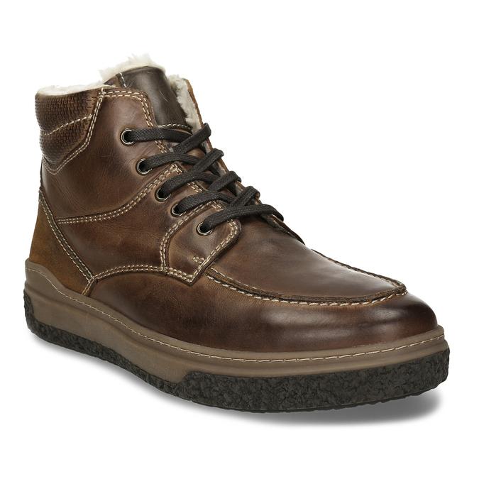 Hnědá pánská kožená obuv s teplým kožíškem bata, khaki, 896-3608 - 13