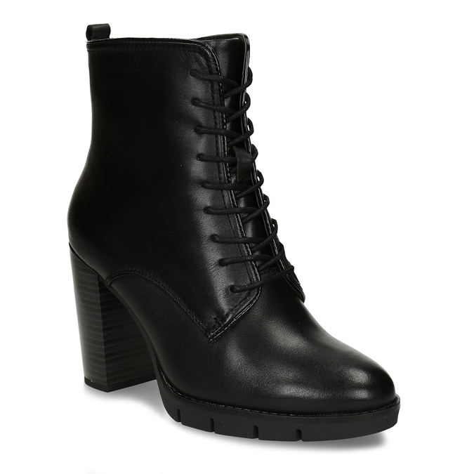 Kožená šněrovací obuv na podpatku flexible, černá, 794-6634 - 13