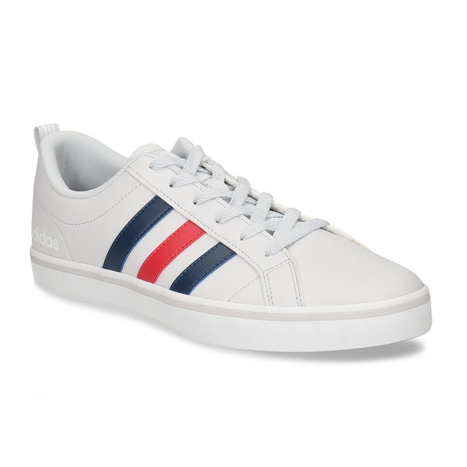 Bílé pánské tenisky s pruhy v červené a modré adidas, bílá, 801-1293 - 13