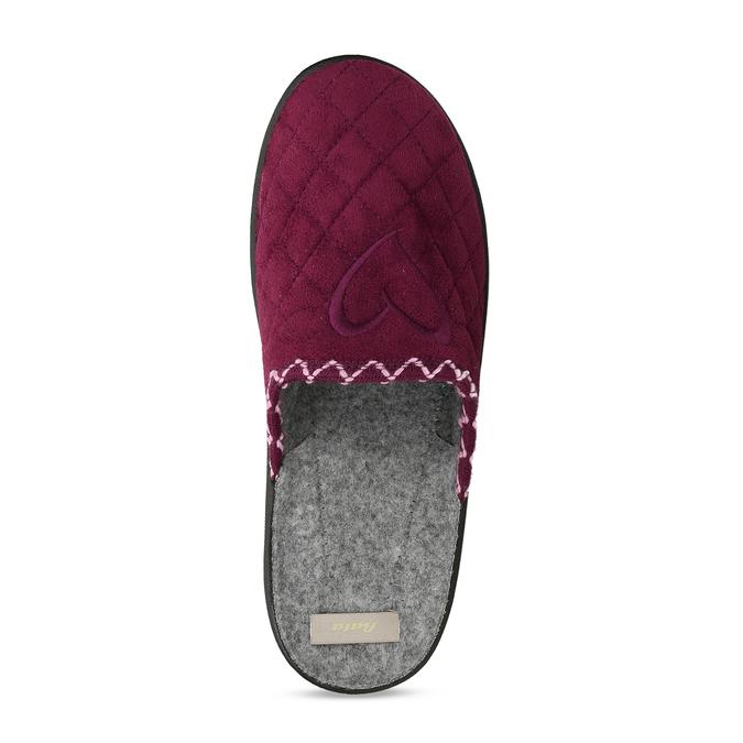 Prošívaná dámská vínová domácí obuv bata, červená, 579-5619 - 17