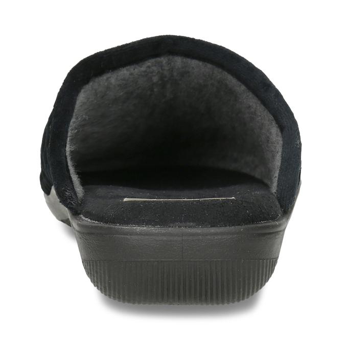Černé prošívané dámské pantofle s ozdobou bata, černá, 579-6618 - 15