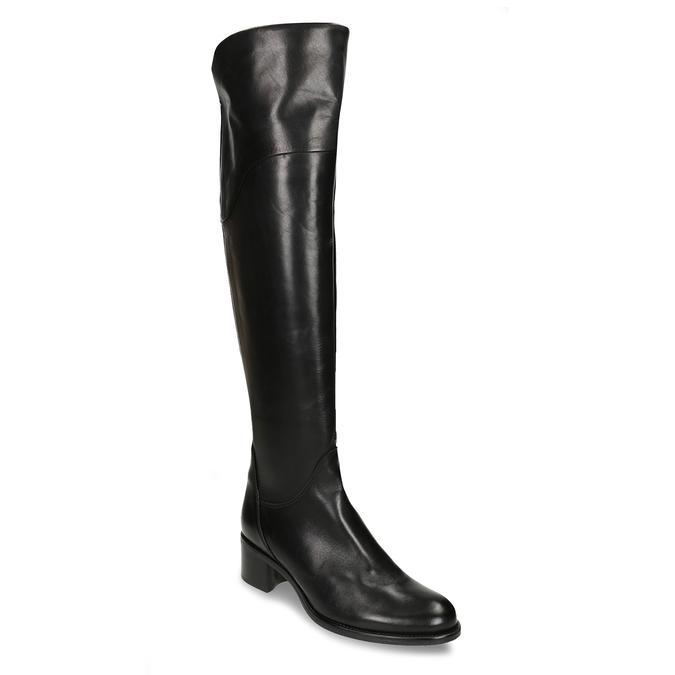 Vysoké černé dámské kožené kozačky nad koleno bata, černá, 694-6657 - 13