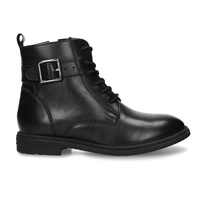 Černá kožená dívčí kotníková obuv s přezkou mini-b, černá, 424-6602 - 19