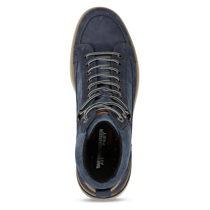 Pánská kotníková obuv v modré kůži se šněrováním weinbrenner, modrá, 846-9621 - 17