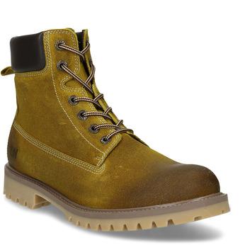Pánská zimní kotníková obuv v hnědé kůži weinbrenner, žlutá, 893-8620 - 13