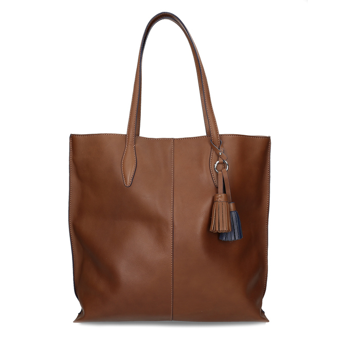 Hnědá kožená kabelka střední velikosti bata, hnědá, 964-4608 - 26