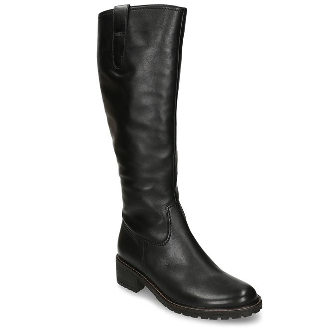 Kožené černé dámské kozačky s hrubší podešví gabor, černá, 594-6336 - 13
