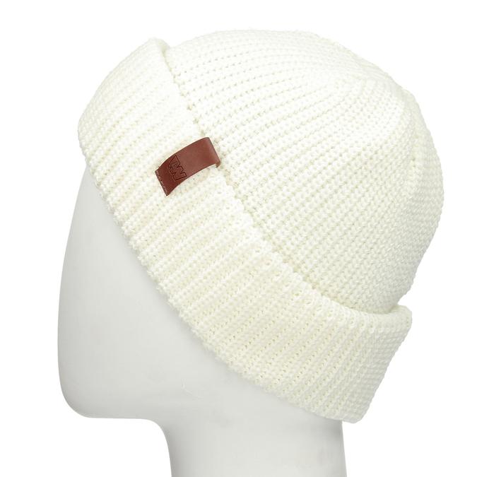 Béžová pletená čepice s ohrnutým okrajem bata, bílá, 909-1690 - 26