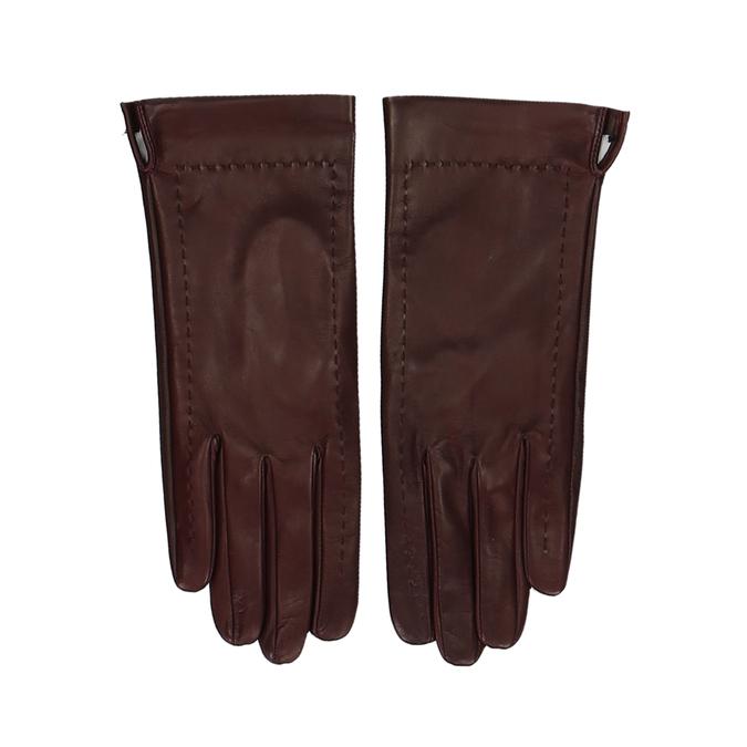 Hnědo-červené dámské kožené rukavice junek, červená, 944-5212 - 26