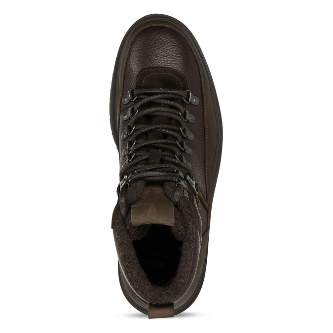 Hnědá pánská kožená kotníková obuv na vyšší podešvi bata, hnědá, 896-7610 - 17