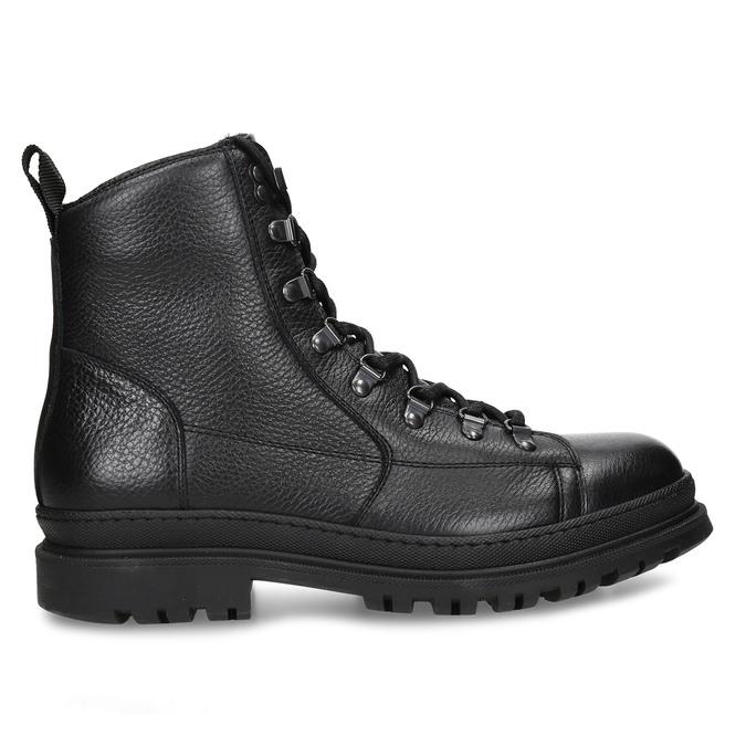 Černá pánská kožená kotníková obuv na šněrování bata, černá, 894-6613 - 19