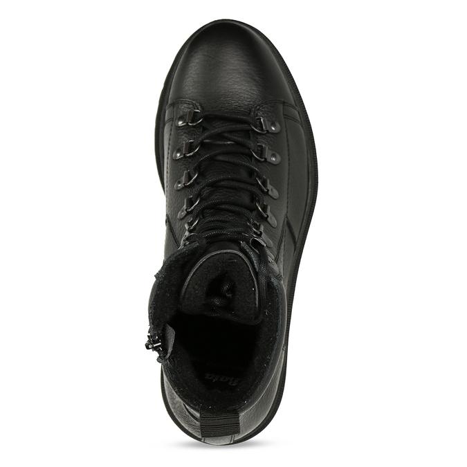 Černá pánská kožená kotníková obuv na šněrování bata, černá, 894-6613 - 17
