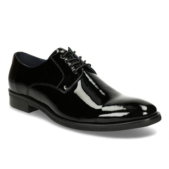 Pánské černé kožené lakované polobotky bata, černá, 828-6650 - 13
