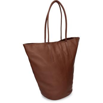 Kožená větší kabelka kónického tvaru vagabond, hnědá, 964-3618 - 13