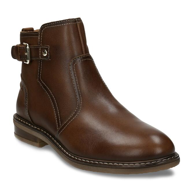 Hnědá dámská kožená kotníková obuv s přezkou pikolinos, hnědá, 596-4618 - 13