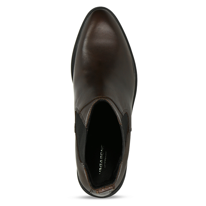 Tmavě hnědá dámská Chelsea obuv kožená vagabond, hnědá, 594-4629 - 17