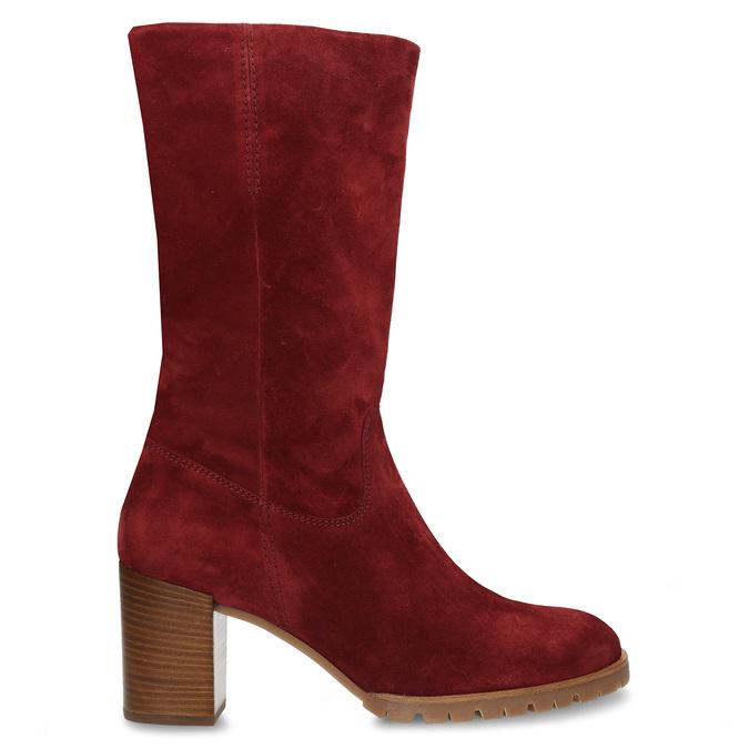 Červené dámské kožené kozačky na podpatku hogl, červená, 693-5601 - 19