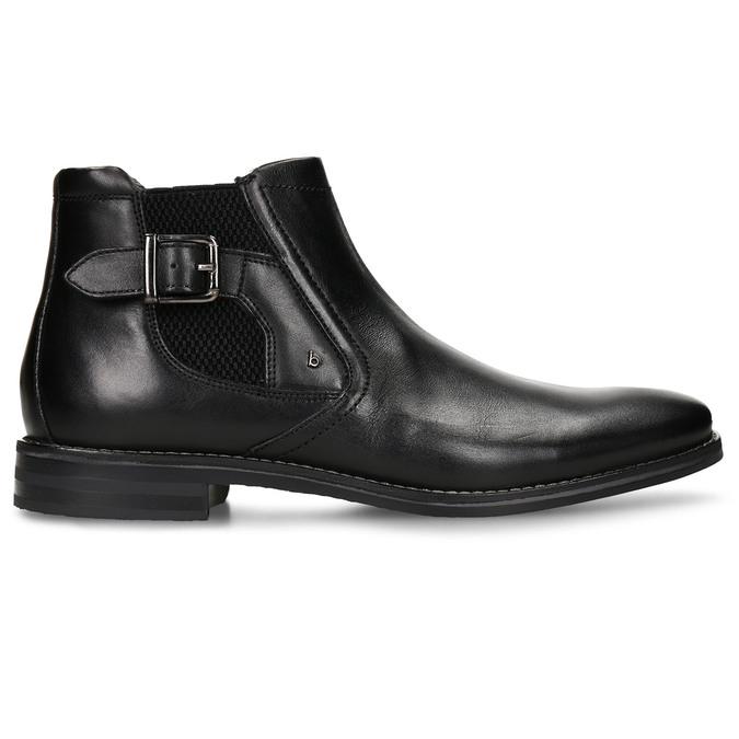 Černá pánská kožená kotníková obuv s přezkou bugatti, černá, 896-6878 - 19