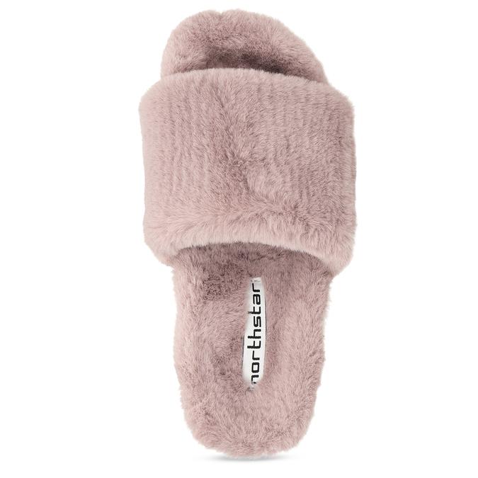 Dámské starorůžové pantofle s kožíškem north-star, růžová, 579-5610 - 17