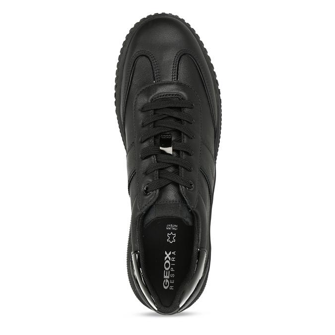 Černé dámské kožené tenisky s lakovanými detaily geox, černá, 546-6700 - 17