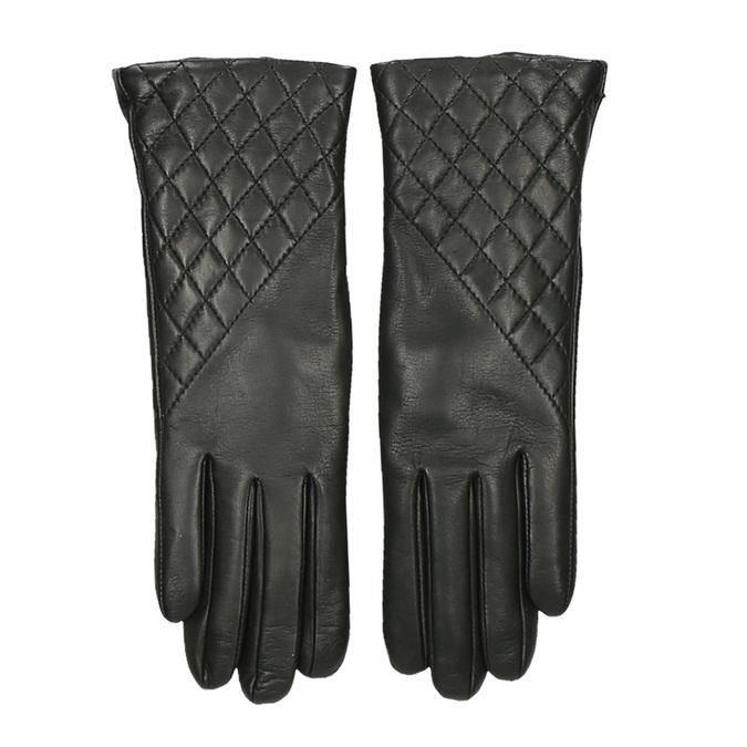 Černé dámské kožené rukavice s výrazným prošíváním junek, černá, 944-6128 - 26
