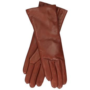 Dámské delší kožené rukavice v terakotové barvě junek, hnědá, 944-3257 - 13