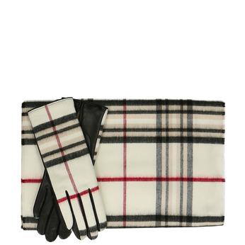 Béžový károvaný set – šála a kožené rukavice junek, béžová, 949-3106 - 13