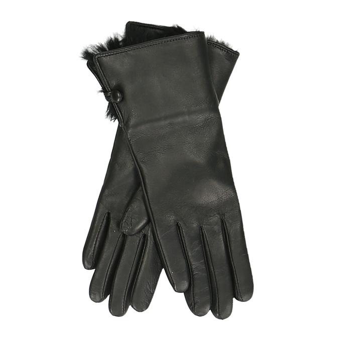 Černé dámské rukavice s huňatou podšívkou junek, černá, 944-6152 - 13