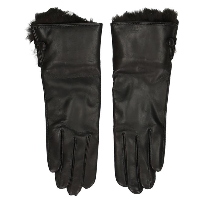 Černé dámské kožené rukavice s kožíškem junek, hnědá, 944-4152 - 26