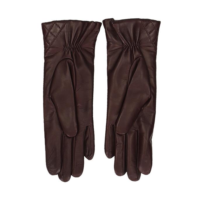 Vínové dámské kožené rukavice s prošitím junek, červená, 944-5128 - 16