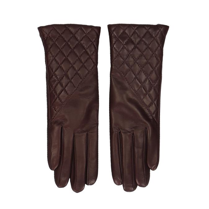 Vínové dámské kožené rukavice s prošitím junek, červená, 944-5128 - 26
