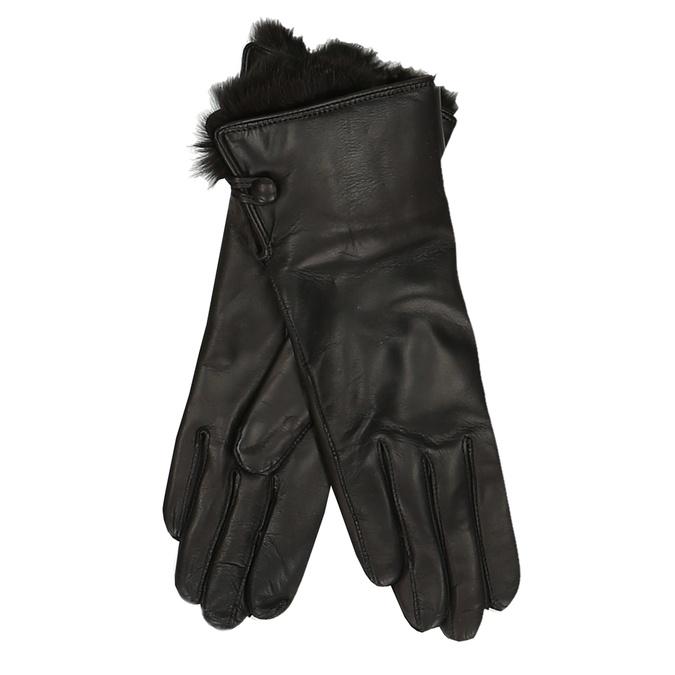 Černé dámské kožené rukavice s kožíškem junek, hnědá, 944-4152 - 13