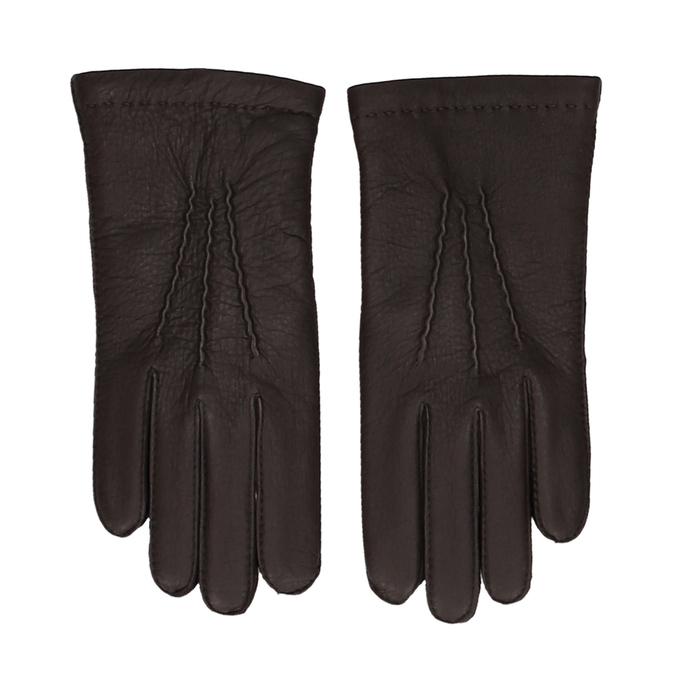 Tmavě hnědé pánské kožené rukavice s řasením junek, hnědá, 944-4140 - 26