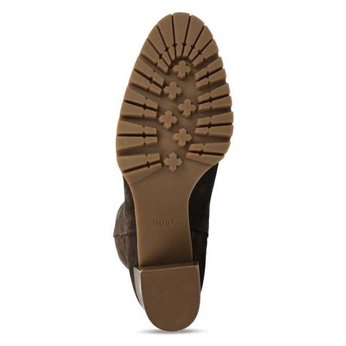 Hnědé dámské kožené kozačky nad kolena hogl, hnědá, 693-4605 - 18