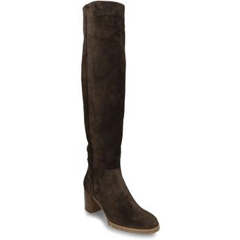 Hnědé dámské kožené kozačky nad kolena hogl, hnědá, 693-4605 - 13