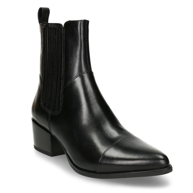 Černá dámská kožená kotníková obuv v Chelsea stylu vagabond, černá, 694-6649 - 13