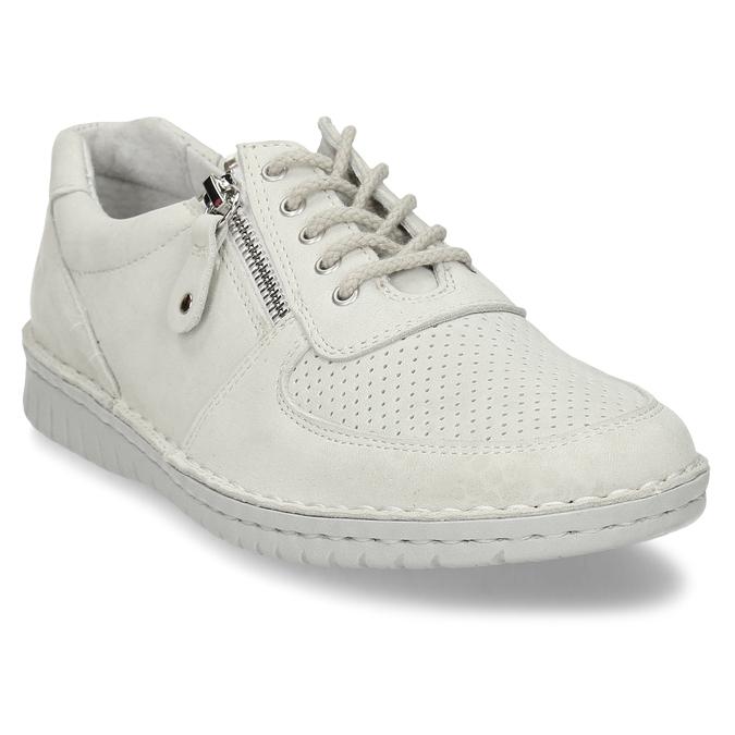 KOŽENÉ DÁMSKÉ BÉŽOVÉ TENISKY S PERFORACÍ bata, bílá, 526-1600 - 13