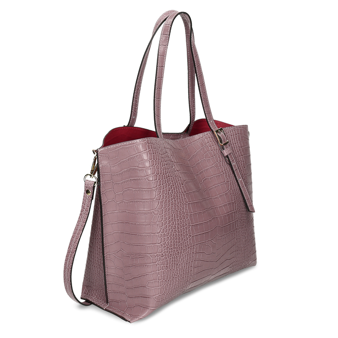 Růžová kožená dámská kabelka s hadím vzorem bata, růžová, 964-5605 - 13