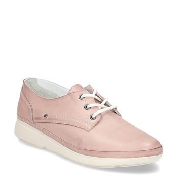 Růžové dámské kožené polobotky bata, růžová, 524-5629 - 13