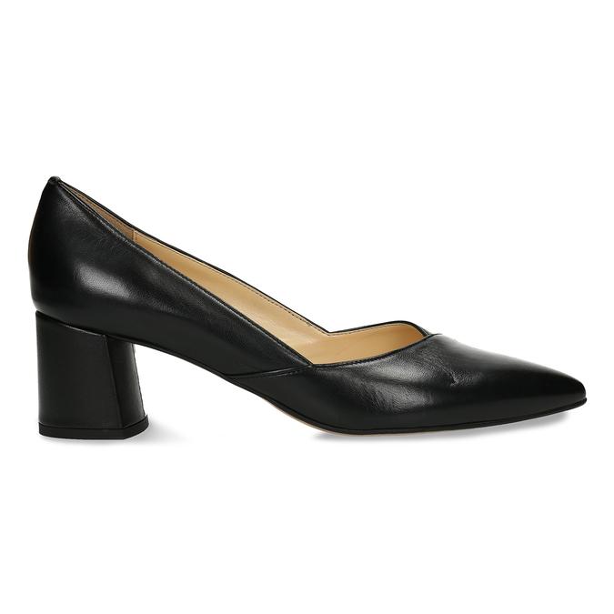 Černé kožené dámské lodičky na stabilním podpatku bata, černá, 724-6614 - 19