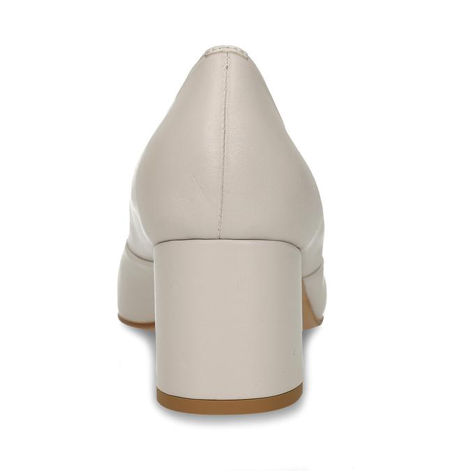 Béžové kožené lodičky na vysokém podpatku bata, béžová, 724-8614 - 15