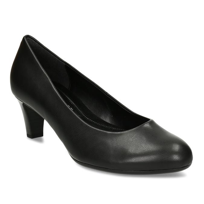 Černé kožené dámské lodičky gabor, černá, 624-6655 - 13