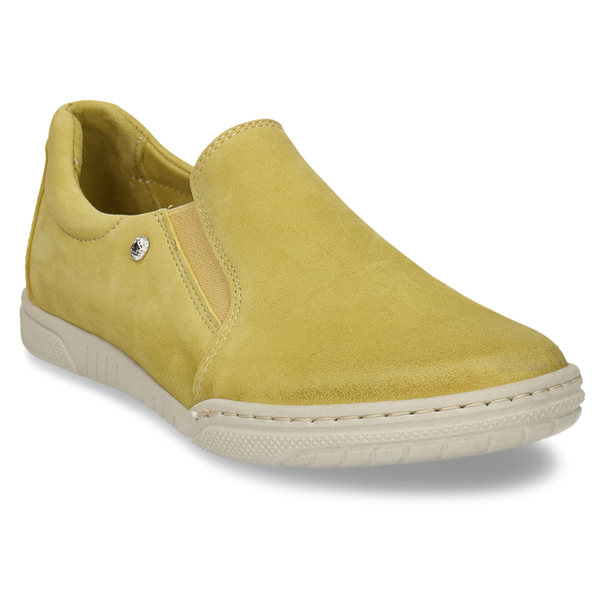 KOŽENÉ DÁMSKÉ SLIP-ON TENISKY ŽLUTÉ bata, žlutá, 526-8600 - 13