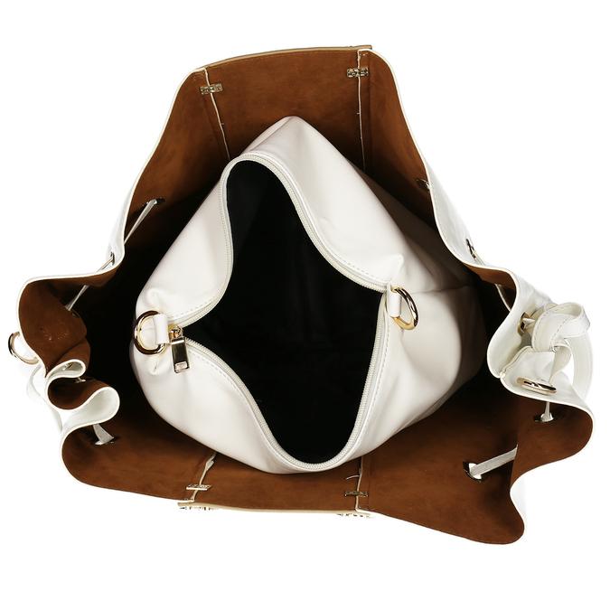 Bílá dámská kabelka s kovovými uchy bata, bílá, 961-1600 - 15
