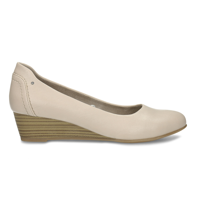 Béžové dámské lodičky na klínku bata, béžová, 621-8600 - 19